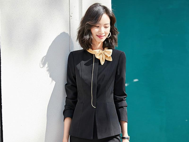 Black Red Formal Skirt Suits Women Business Work Jacket  Set Fashion Blazer Office Lady OL Female Clothing Sleeve 2 Piece Set