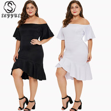 Skyyue Boat Neck Evening Dress Plus Size Women Party Dresses Off The Shoulder Robe De Soiree Half-sleeve Gowns 2019 T031