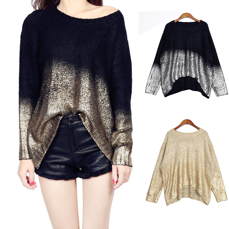 Chtengiber Autumn Gradient Knitted Sweaters Gold Sliver Women Jumpers Casual Fashion Tops Pullover Sweater Pull Femme Nouveaute