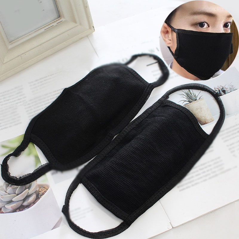 1PC Unisex Cotton Black Mouth Mask Anti Dust Windproof Mouth-muffle Washable Reusable Anti Pollution Face Shield Mouth Mask