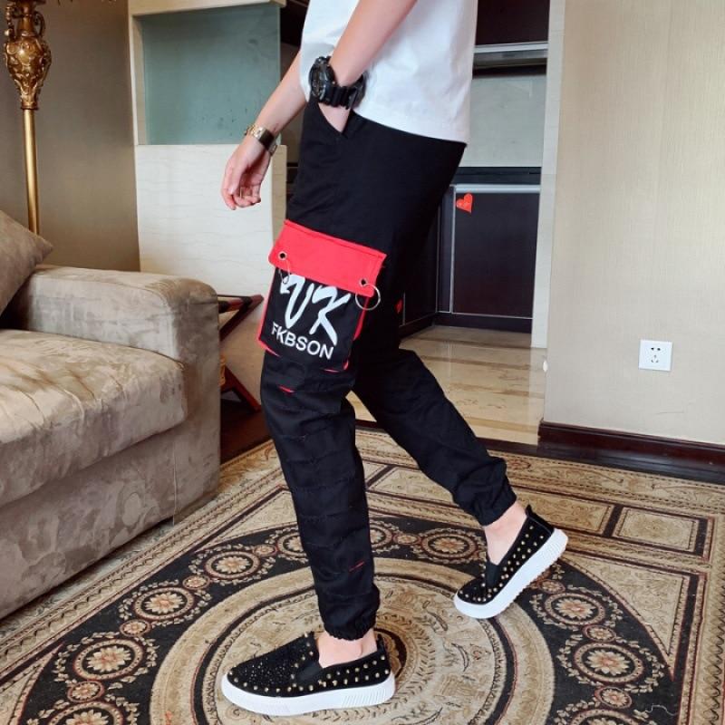 Men Slim Fit Versatile Casual Pants Male Red Social Fella Korean-style Trend Summer Sports Ninth Pants Skinny