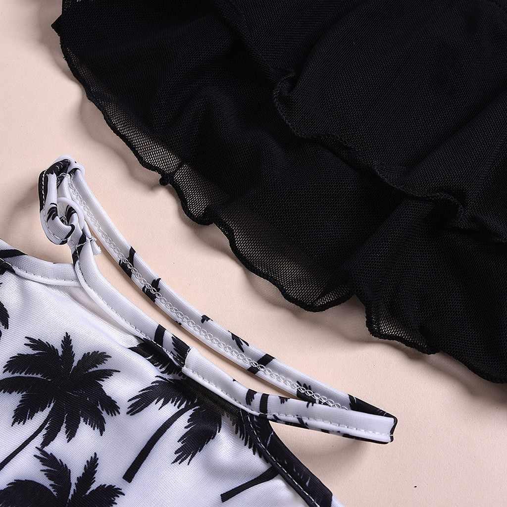 Biquíni para meninas verão 2020, roupa de banho estampada para meninas, fora do ombro, babado, cóco, árvore, biquíni, conjunto de roupa de banho, a41