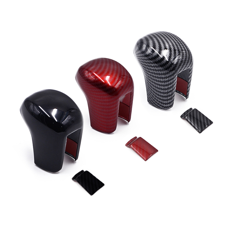 Painel de controle central do carro interior do deslocamento de engrenagem botão cabeça capa guarnição estilo para honda civic 2016-2020 abs estilo fibra de carbono