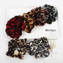 Soft Chiffon Satin Leopard Scrunchies Girls Elastic Hair Rope Band Women Velvet Ponytail Holder Accessories
