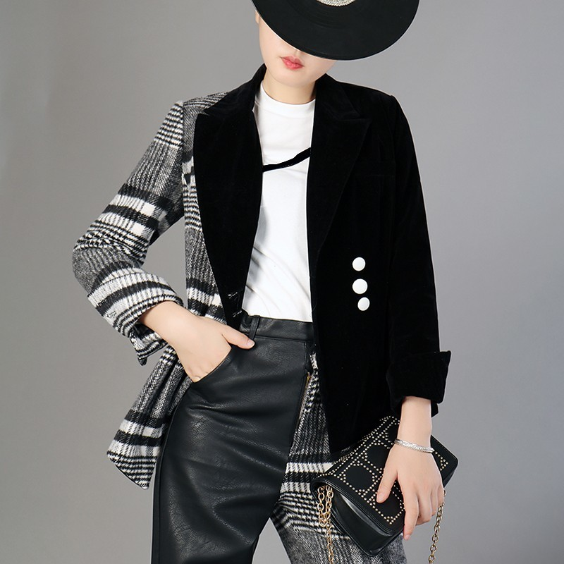 Velour Patchwork Wool Plaid Blazer Coat Female Long Sleeve Asymmetrical Women's Suits 2020 Spring Fashion Clothes