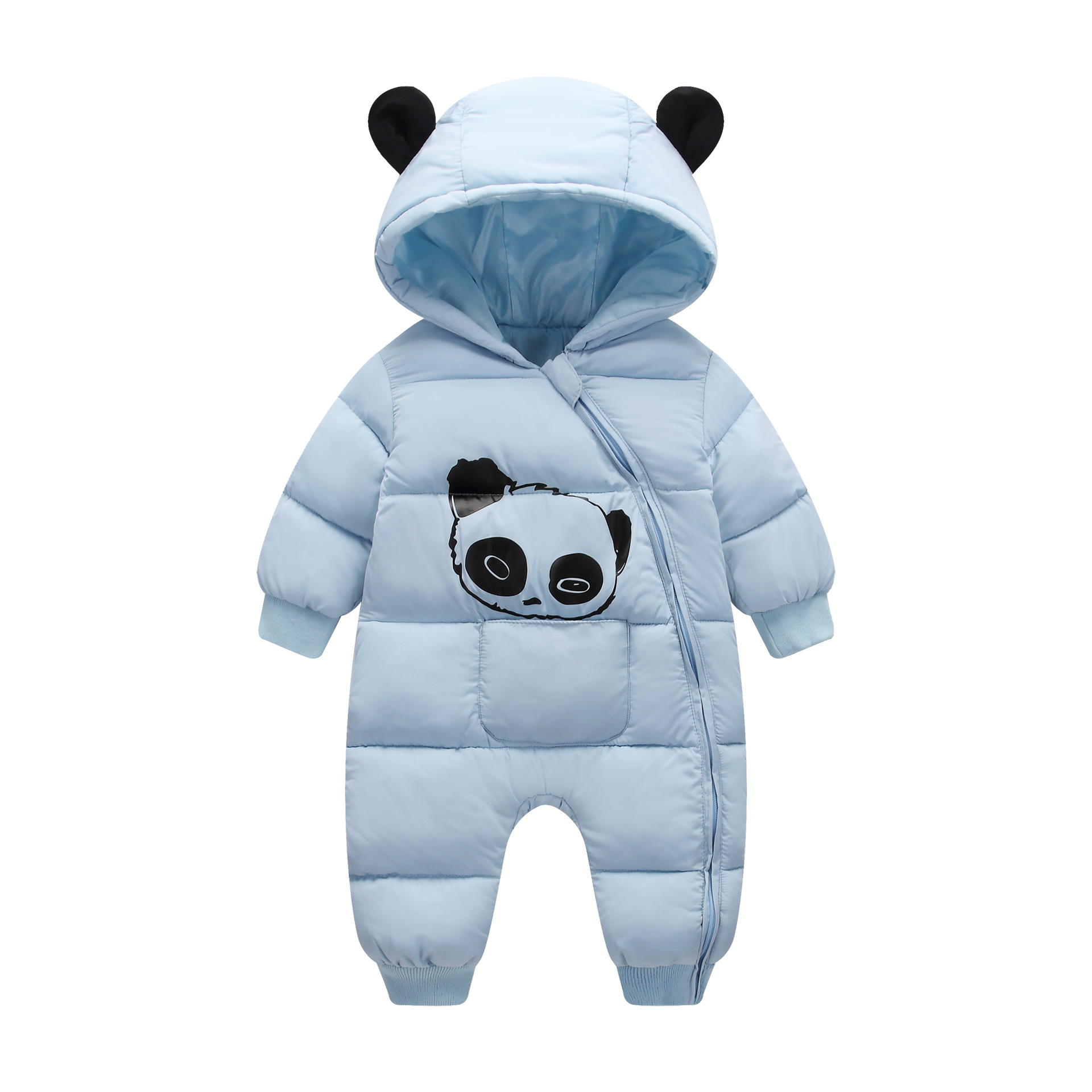 OLEKID 2021 Winter Baby Snowsuit Cartoon panda Thick Warm Newborn Baby Girl Jumpsuit Toddler Snow Suit Baby Boy Rompers Overalls