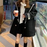 Alien Kitty 2020 New Spring Autumn Navy bavero cappotto di lana donna medio-lungo nuovo stile coreano capispalla donna cappotti di lana sintetica