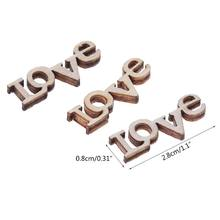 100 pcs Laser Cut Wood Embellishment Wooden LOVE Letter Shape Craft Wedding Decor 72XF(China)