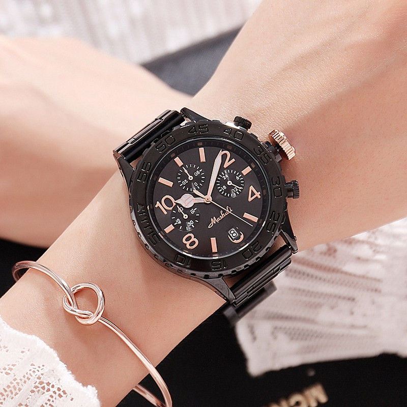 Big Dial Women Watches Lady Six-Pin Date Quartz Watch Stainless Steel Female Wristwatches Casual Watch for Woman reloj mujer New