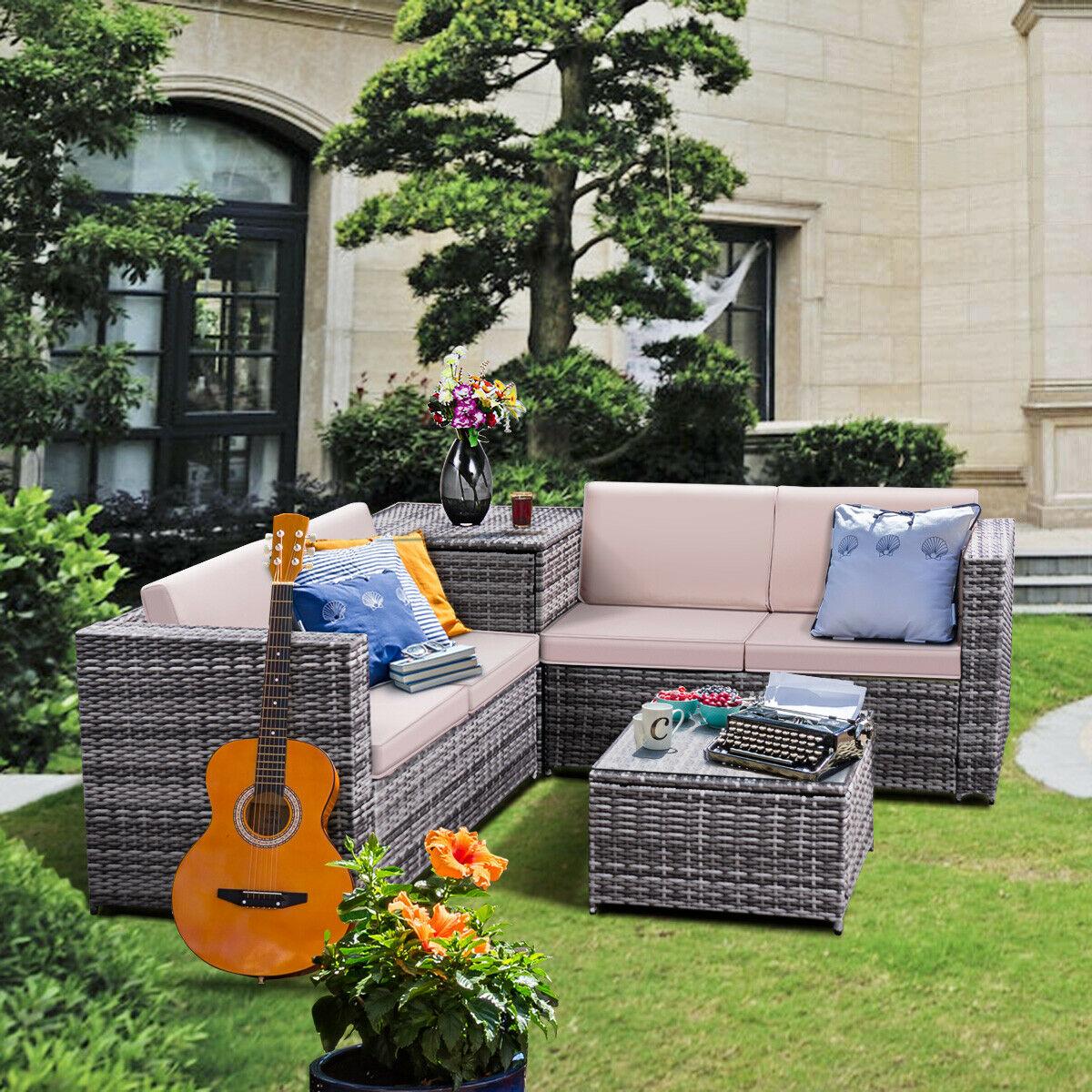 Costway 4PCS Patio Rattan Wicker Furniture Set Sofa Loveseat Cushioned W/Storage Box