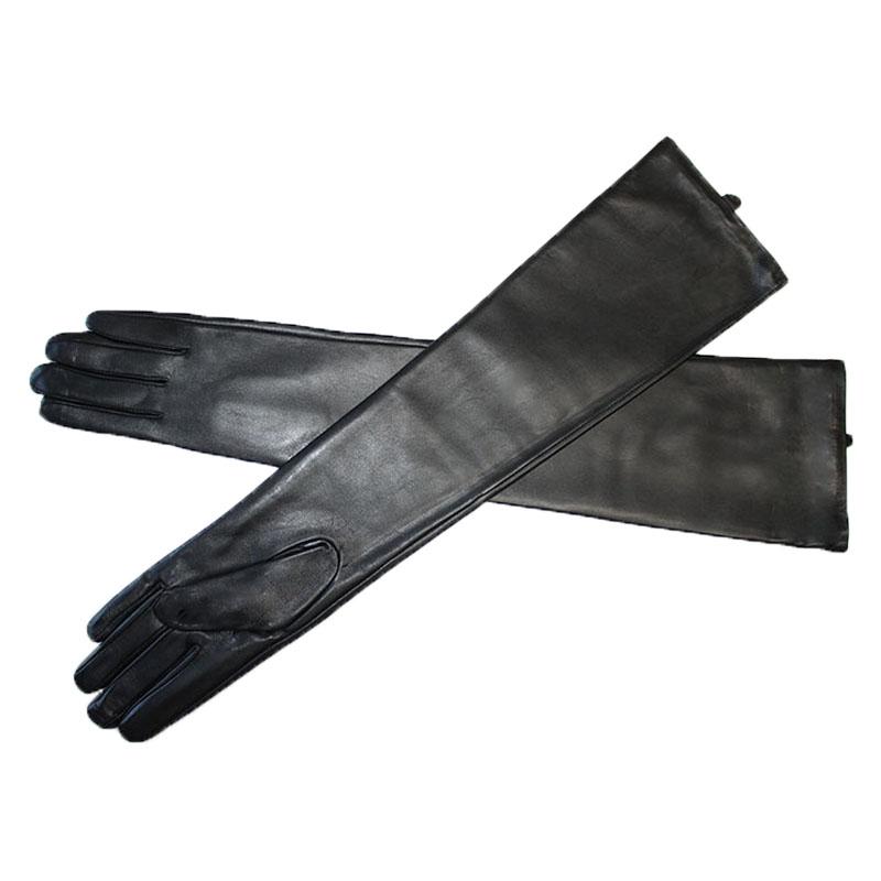 Duge kožne rukavice Ženski dodirni ekran Crna ovčja koža preko - Pribor za odjeću - Foto 3