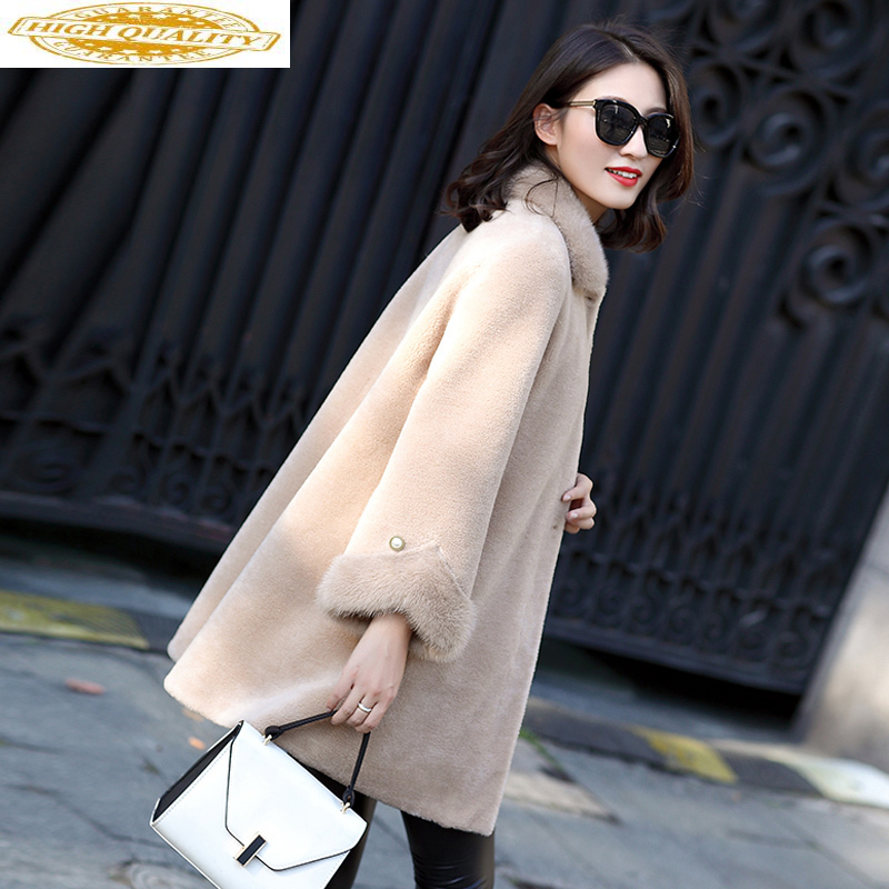 Natural Sheep Shearling Fur Coat Female Fox Fur Collar Real Wool Coats 2020 Winter Jacket Women Korean Long Coats MY3686