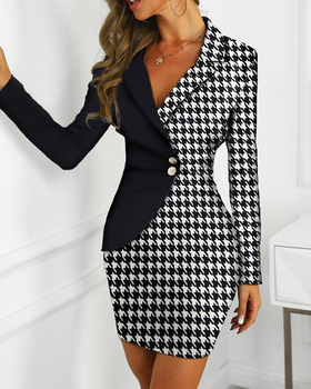 Plaid Print Colorblock Insert Blazer Dress Elegant Contrast Color Striped Insert Patchwork Blazer Bodycon Dress