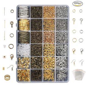 3000 шт Золото бронзовый цвет сплав Открытый прыжок кольца для DIY ювелирных изделий Компоненты смешанные 1 коробка