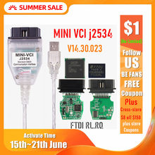 ミニ vci V14.30.023 ftdi FT232RL FT232RQ MINI-VCI J2534 トヨタ tis techstream OBD2 インターフェイス車両診断(China)