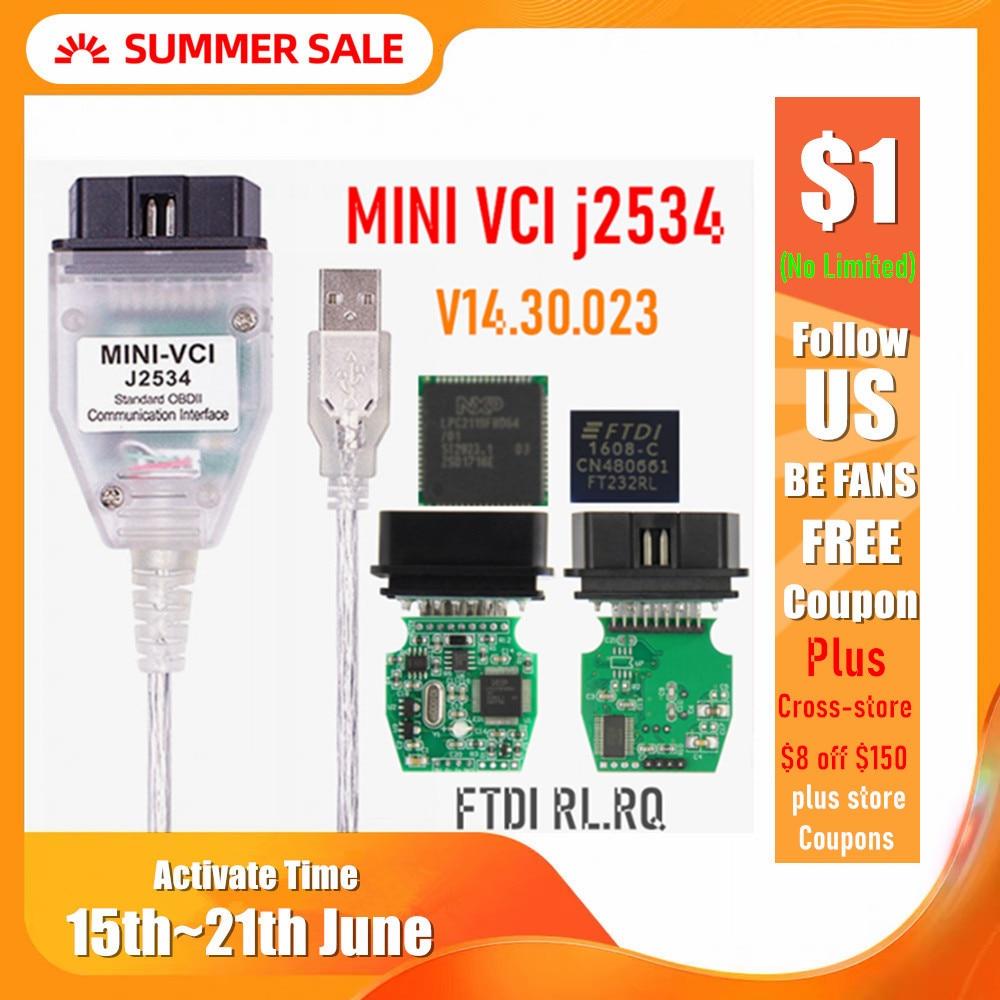 Mini vci v14.30.023 ftdi ft232rl ft232rq MINI-VCI j2534 para o diagnóstico do veículo da relação de toyota tis techstream obd2