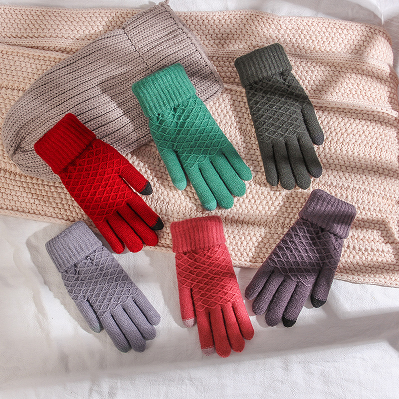 Touch Screen Sensory Gloves For Women Gloves Girl Female Stretch Knit Gloves Mittens Winter Warm Accessories Knit