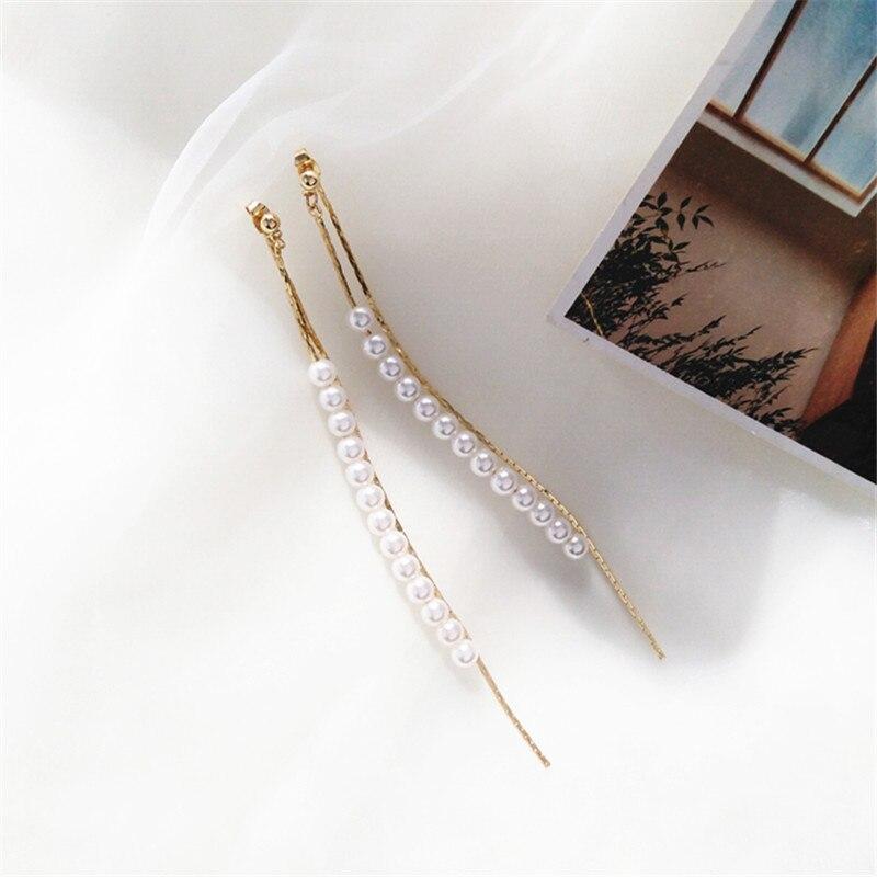 Classic Pearl Long Earrings Female Fashion Temperament Gold Earrings Pearl Tassel Stud Earrings For Woman Jewelry