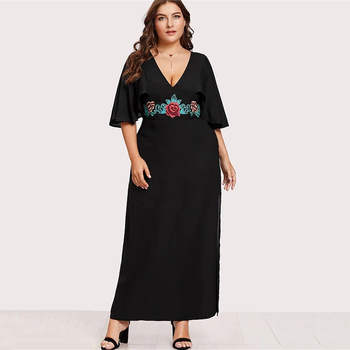 Fashion Vestido Dress Women Plus Size Flare Sleeve Luxury Floral Embroidery Dress High Quality Designer  Vestidos De Festa D30 цена 2017