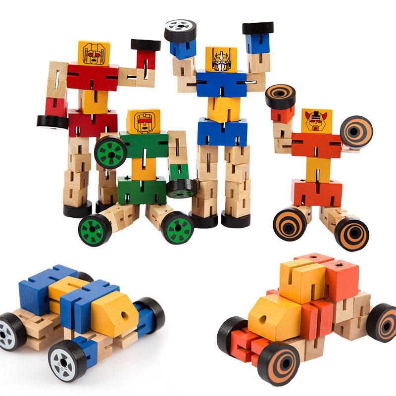 None Kids Cool Wooden Transformer Deformable Toy, Wooden Magic Cube Robot Car People Change Toy - Color Random