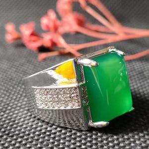 Jadery Green Jade Silver Ring