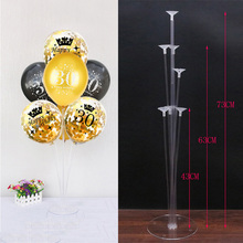 Columna de soporte de globos de fiesta de cumpleaños para adultos, columna de soporte de globos dorados y negros, decoraciones para fiesta de cumpleaños, 30 y 40 años