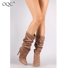 Купить с кэшбэком OQC New Sexy Point Toe Party Boots Women's Faux Suede Mid Calf Slouchy Stiletto Boots Middle Tube Folds Thin High Heel Boots D25