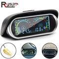2-в-1 ЖК- дисплей для автомобиля, датчик температуры, вольтметр 10 мм , цифровой горизонтальный измеритель напряжения 12 В 24 В, аксессуары