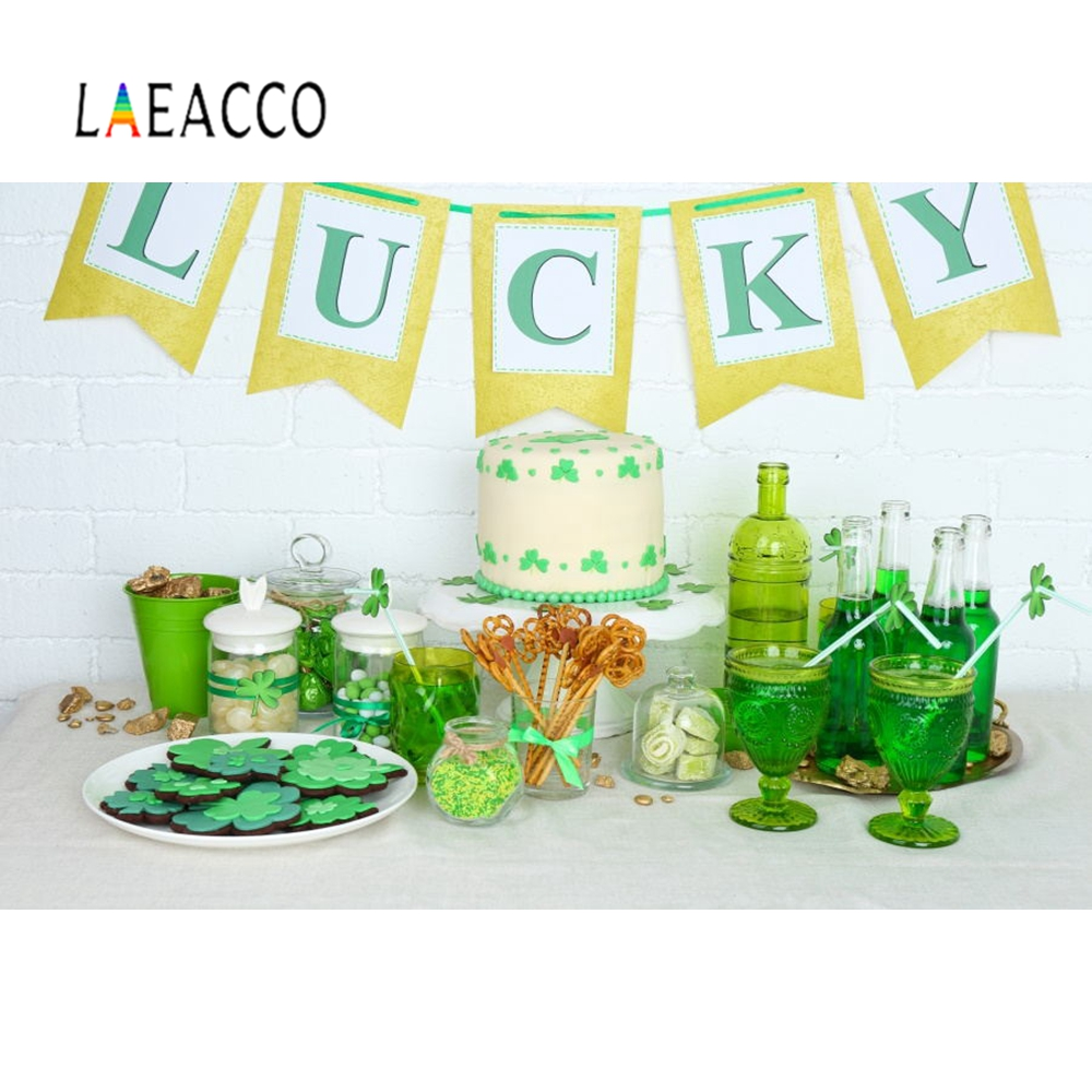 Laeacco Lucky Clovers Green Happy St. Patrick\'s Day Photography Background Decoration Vinly Photographic Backdrop For Photocall