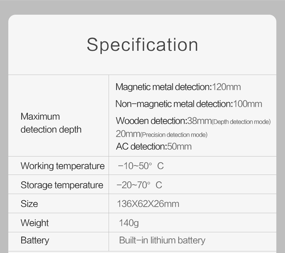 Worx Wall Detector Specification