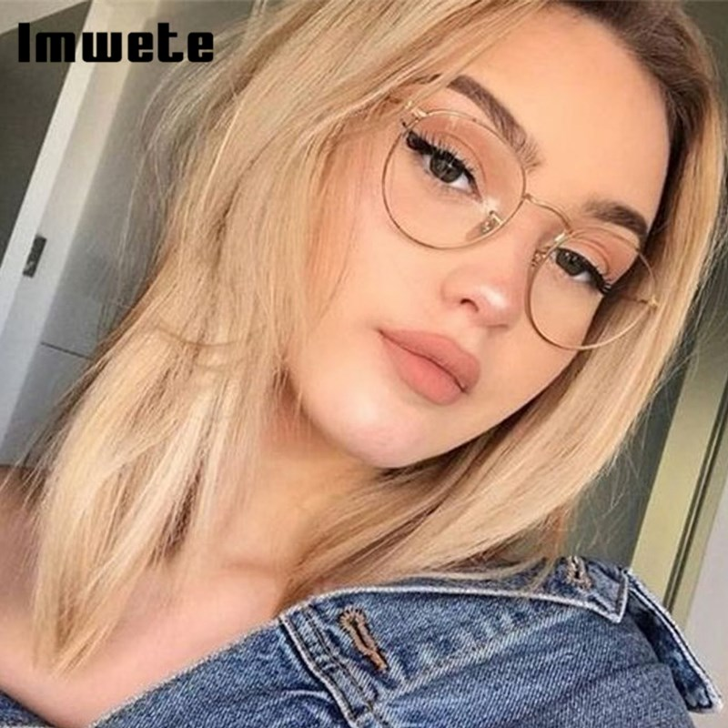 Imwete Classic Round Glasses Frame For Women Fashion Optical Eyeglasses Frames Men Anti Glare Metal Spectacles Eyewear Goggle