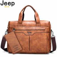 JEEP BULUO, брендовая деловая мужская кожаная сумка, большая вместительность, офисный портфель, сумка для мужчин, дорожные сумки на плечо, 14 дюйм...