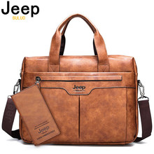JEEP BULUO Brand Business Men Leather Handbag Large Capacity office Briefcase Bag For Man Travel Shoulder Bags 14inch Laptop New