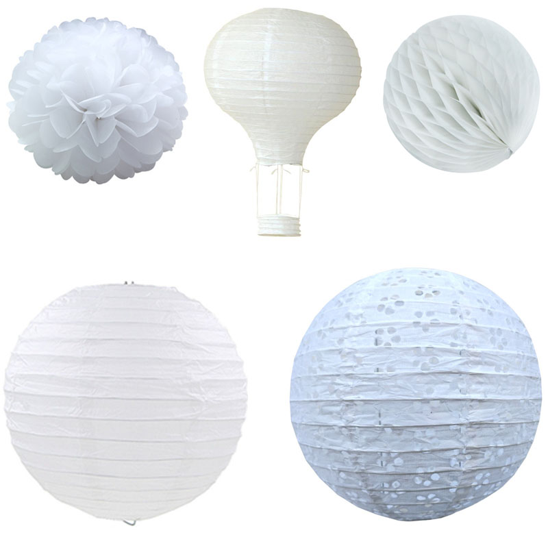 White Color Chinese Paper Lanterns Wedding Baby Shower Birthday Party Decoration Paper Flower Ball Hot Air Balloon Paper Lamp