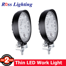 2pcs Round 27W LED Work Light Bar Auto 12V Motorcycle Lamps Car Foglight for Off Road Driving Lamp