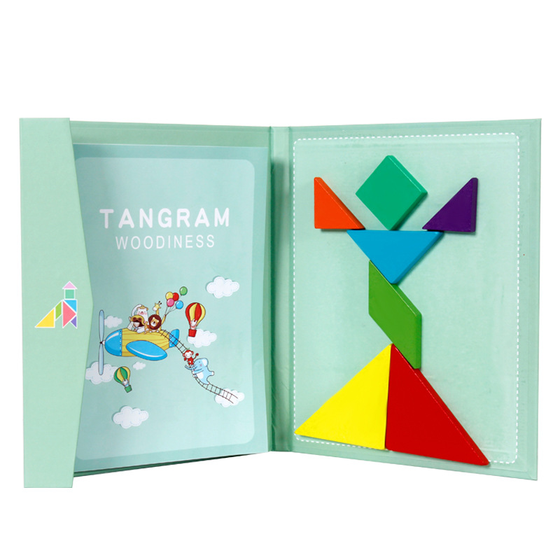 Wooden Magnetic Tangram Puzzle Travel Game Educational Book Smart Games For Kids Children S Toys Gifts For Boys And Girls