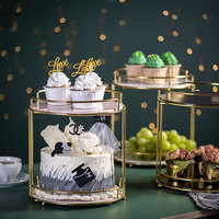 Creative fruit plate modern living room household double layer cake wedding dessert display shelf bathroom cosmetic storage tray
