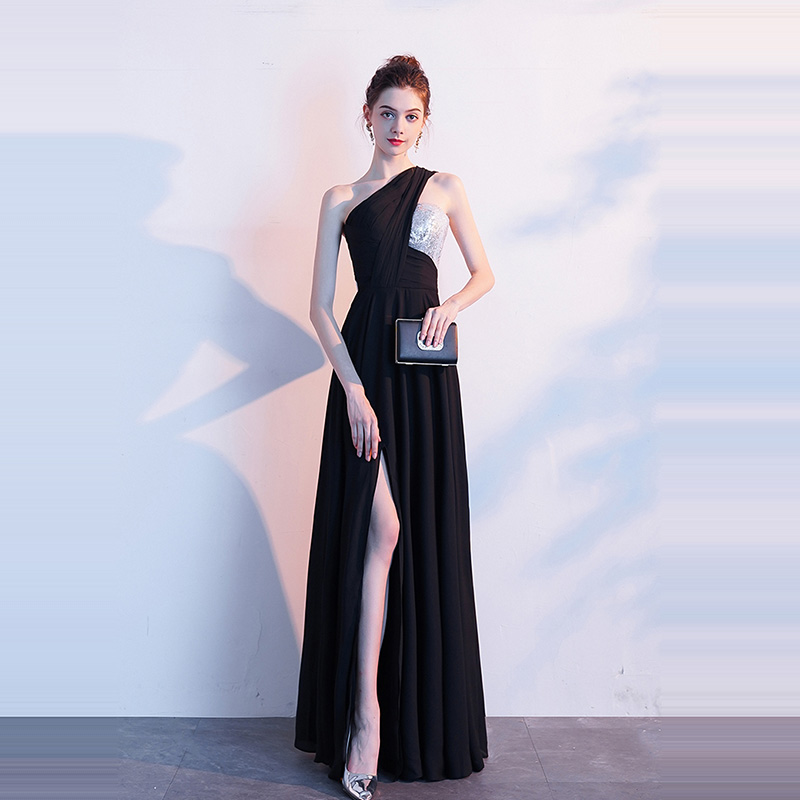 Evening Dress One Shoulder Sleeveless Women Party Dresses Floor Length Robe De Soiree 2019 Sexy Split Sequin Formal Gowns F188