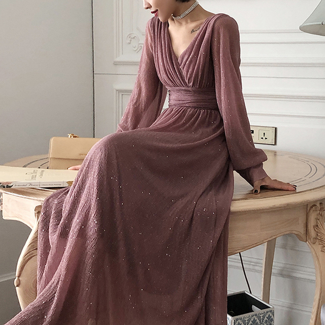 Vintage Style Glitter Long Maxi Dress 2