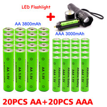 AAA + AA rechargeable AA 1.5V 3800mah - 1.5V AAA 3000mAh alkaline battery flashlight toy watch MP3 player, free delivery