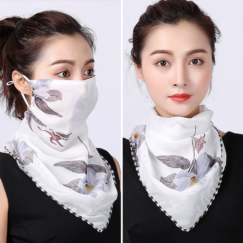 Sunscreen Triangular Scarf Mask Neck  Female Summer Ear Style Scarf Thin Spring And Autumn Veil Cover Their Faces Mask