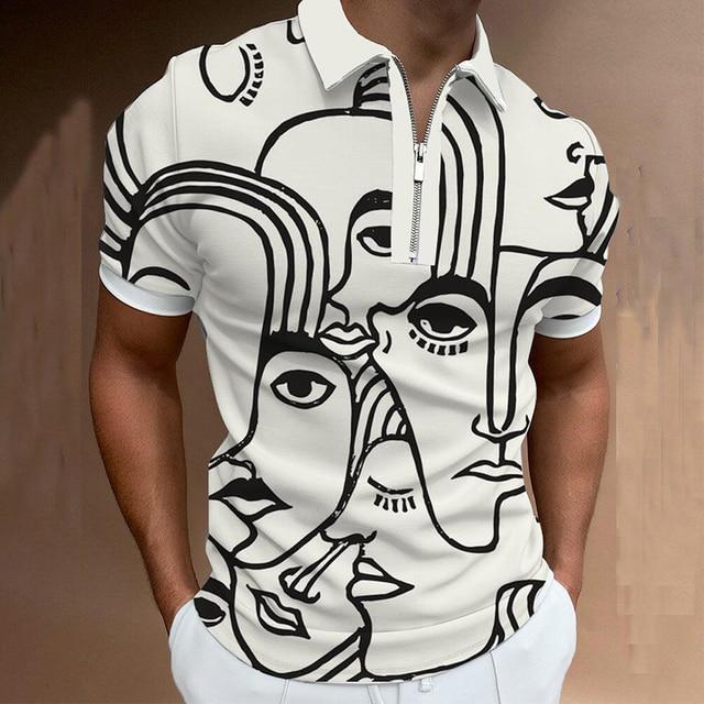 Fashion Summer Men Polos Shirts Printing Short Sleeve Turn-Down Collar Zippers Casual T-Shirt Slim Breathable Fitness Sportswear 3