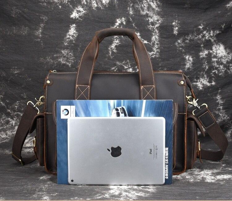 MAHEU Hoge Kwaliteit Echt Leder Hand Aktetas Crazy Horse Lederen Computer Tas Laptop Ipad A4 Korte Case Voor Man Man jongen - 5