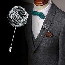 Koreański ręcznie wykonana tkanina artystyczna róża broszka z kwiatem wstążka długa igła przypinka do koszuli garnituru stanik ślub kołnierz dla akcesoria dla mężczyzn