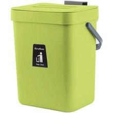 Escaninho de compostagem para o contador de cozinha pendurado pequena lata de lixo com tampa sob sink3l 5l montável compostagem balde cozinha lixo escaninhos