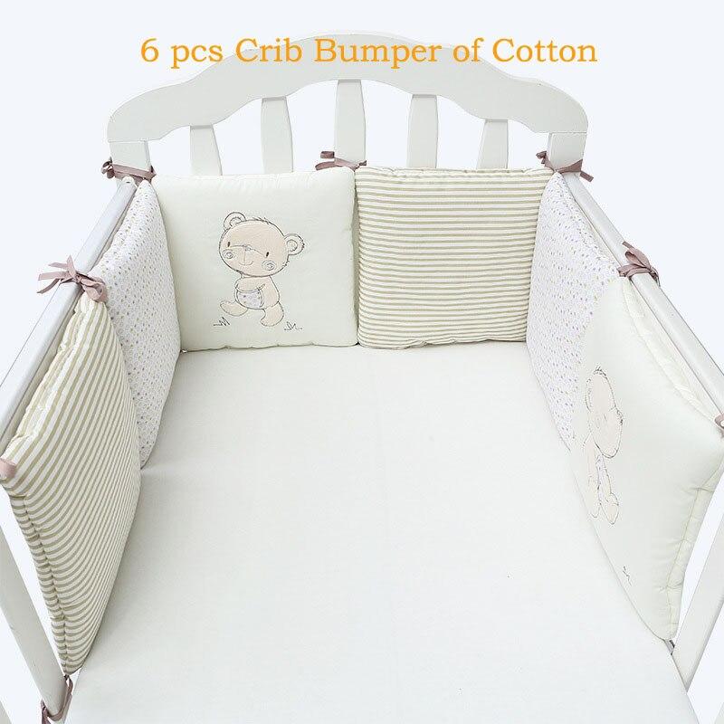 Niños cuna parachoques cama protector bebé niños algodón cuna guardería para oso parachoques niño y niña ropa de cama 6 pc de peluche de juguete