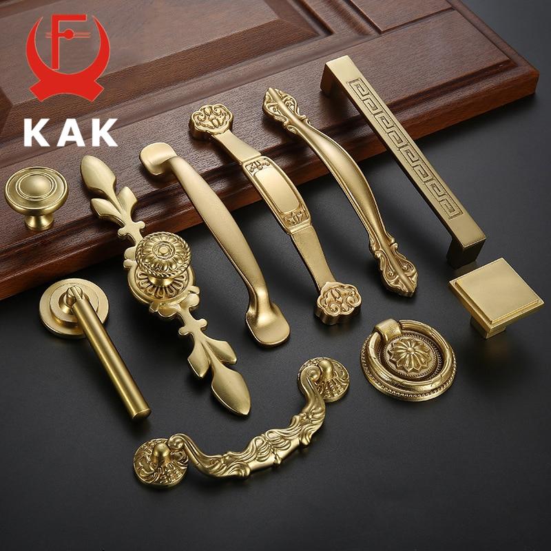 KAK de Cobre Sólido Puxadores de Armário Da Cozinha Porta Do Armário Puxa Maçanetas de Gaveta Europeia Mobiliário Hardware Alça de Ouro de Bronze Do Vintage