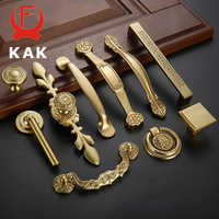 KAK Solid Copper Cabinet Handles Kitchen Cupboard Door Pulls Drawer Knobs European Vintage Brass Gold Furniture Handle Hardware