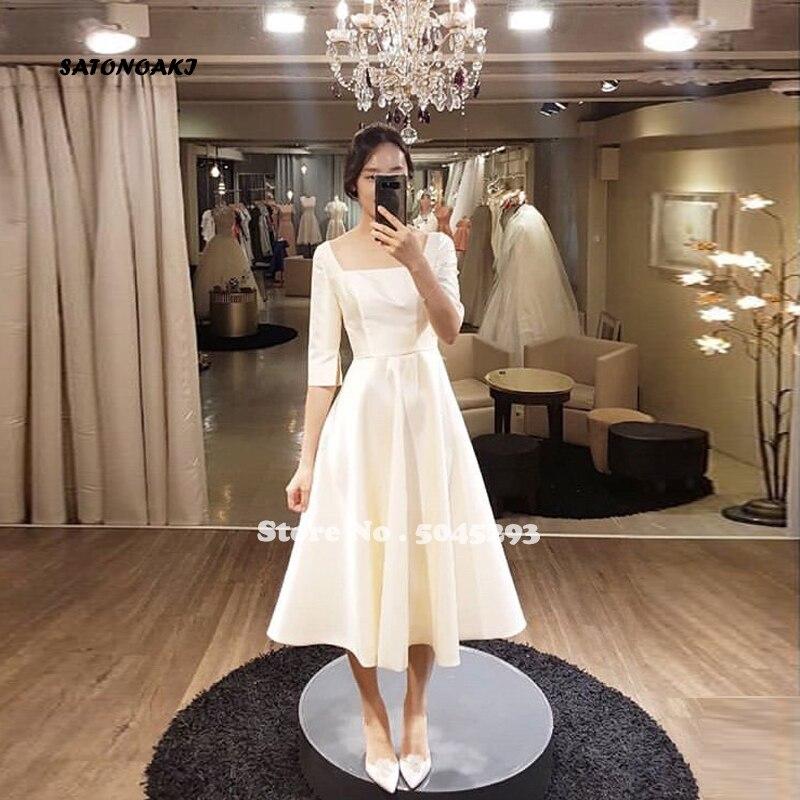 Simple Tea Length Wedding Dresses With Half Sleeves White Ivory Korea Bridal Dress Vestido De Novia Cheap A-line Wedding Gowns