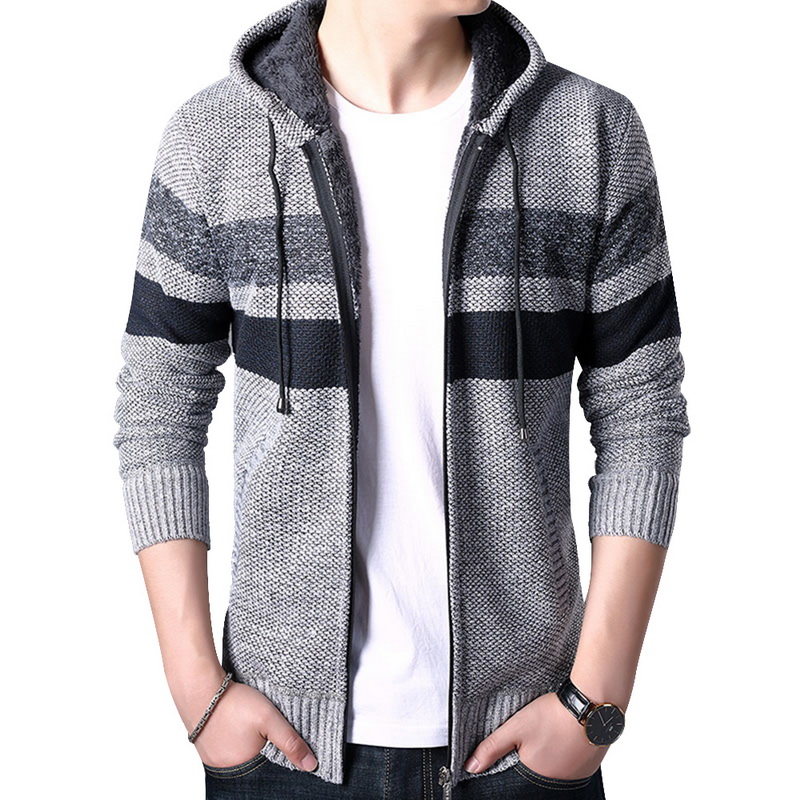 2019 Autumn Knitted Sweater Men Zipper Baseball Stand Collar Knitwear Sweatercoat Casual Striped Hooded Coat Casaco Masculino